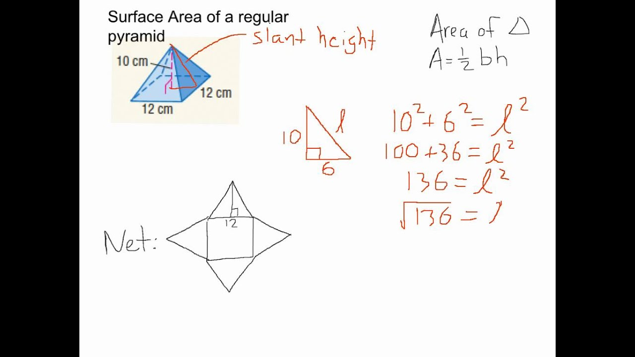 Surface area of regular pyramid - YouTube