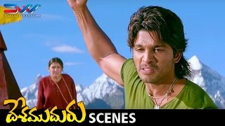 Allu Arjun Powerful Interval Fight  Desamuduru Telugu Movie Scenes  Hansika  Puri Jagannadh