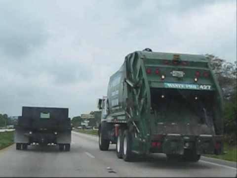 Waste Pro (in traffic) Mack MR/New Way rearloader Orlando, FL 4-06-09