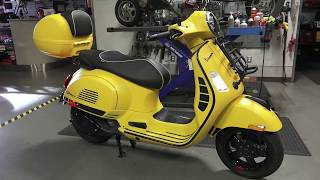 Yellow Vespa GTS Super Sport with Custom Pinstriping & Accessories