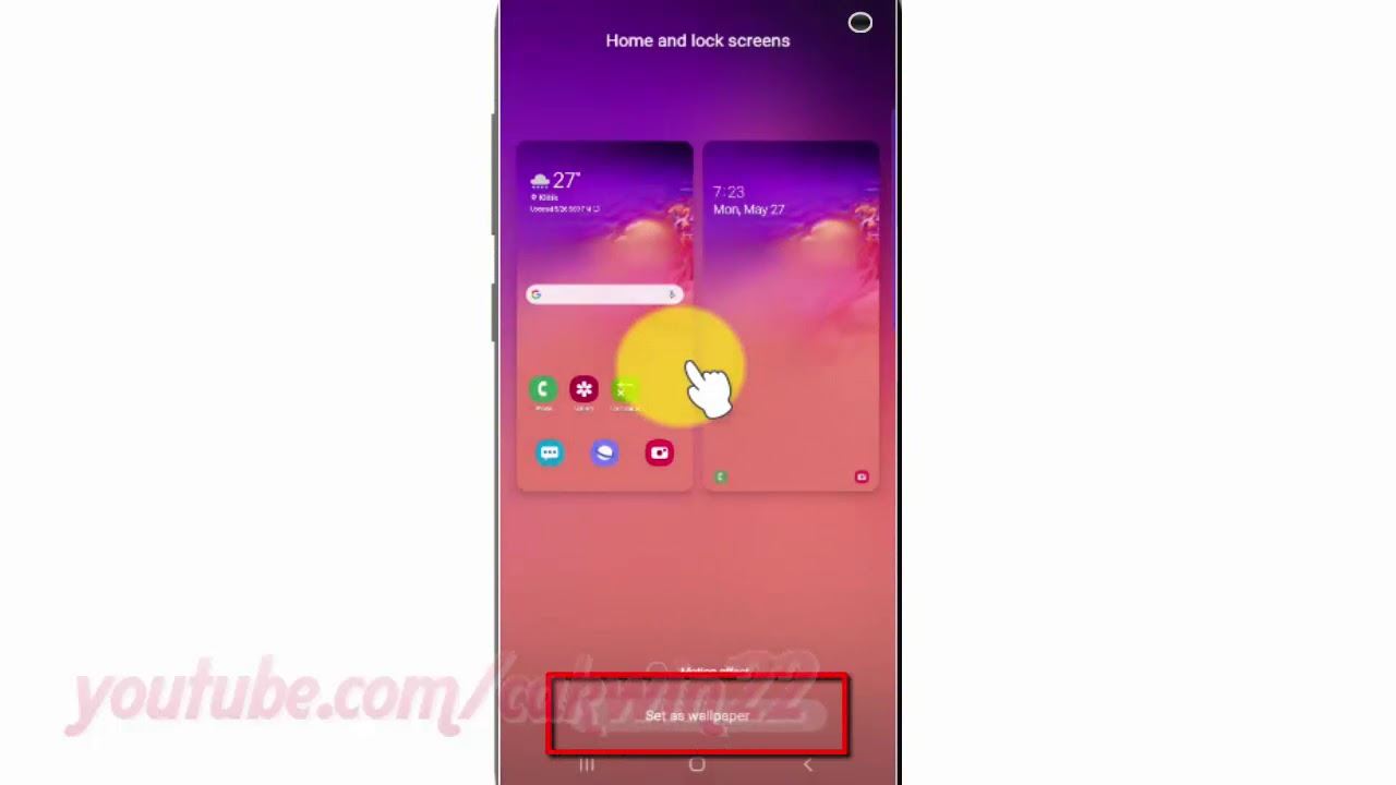 Samsung Galaxy S10 How To Set Picture Ass Wallpaper In Lock And Home Screen Youtube