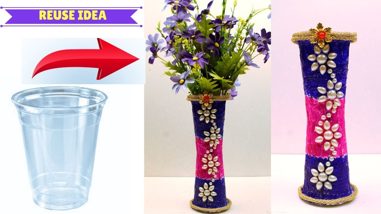 168 & DIY - Flower vase made with disposable plastic glass - Crafts using disposable plastic glass