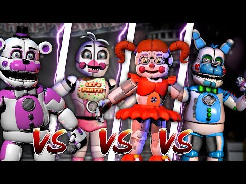 Minecraft SISTER LOCATION VS FIVE NIGHTS AT FREDDY'S - FUNTIME FREDDY & BABY VS CHICA & BONNIE!! -