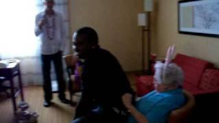Sexy Black Man Gives Grandma a Lap Dance