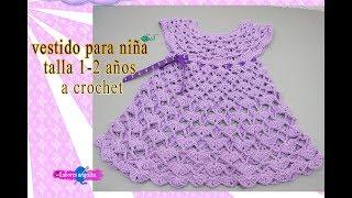Vestido tejido a crochet para niña de 1 año