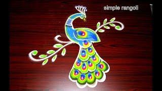 Simple Peacock Rangoli Designs Using Tools | Beautiful Innovative Multicolor Kolam | Peacock Muggulu