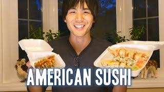 Jun tries some American rolls, yum yum. We also thought this might ...