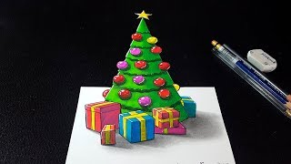 How to Draw 3D Christmas Tree - Happy Holidays