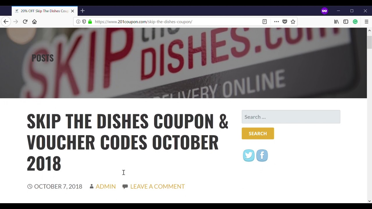 50% OFF {Verified} : Skip The Dishes Coupon, Voucher Code August 2019