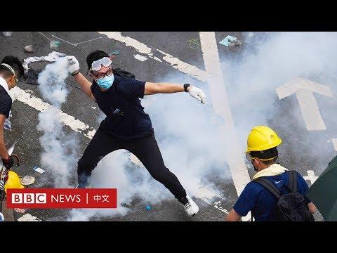 逃犯條例:警方向示威者發射催淚彈 - BBC