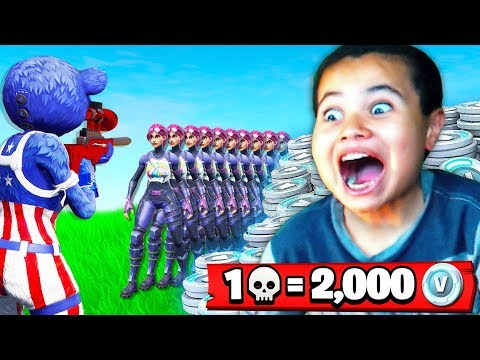 1 Elimination = 2,000 *free* V-Bucks With My Little Brother (Fortnite Battle Royale) | MindOfRez