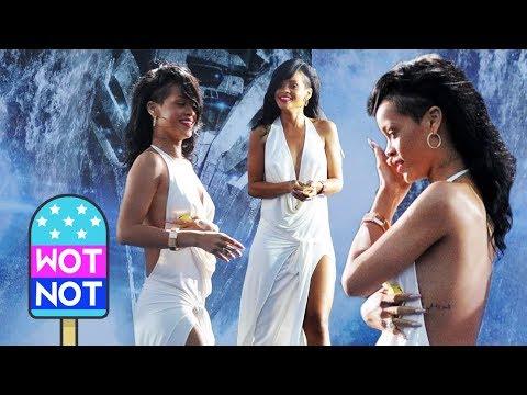 Rihanna In Prom Dress Showing Off Tattoos As Alexander Skarsgard Signs Autographs