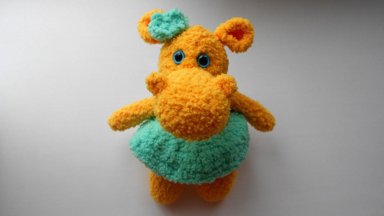 Бегемотик игрушка амигуруми крючком