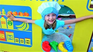 Polina Pretend Play Shopping with Sand molds Play Set and Baby Dolls