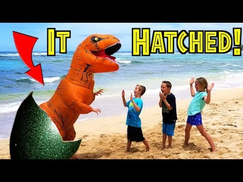 OUR DINOSAUR EGG HATCHED! Giant Life Size Dinosaur T-Rex in Real Life! Jurassic World (family skits)