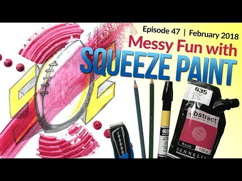 Acrylic Squeeze Abstract Painting, Drawing Step-by-Step Demo