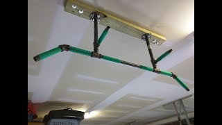 DIY 4 Position Ceiling Mounted Pull Up Bar for Ninja Warrior Garage