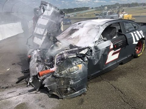 Brad Keselowski Brake Failure HARD Crash Watkins Glen 2016