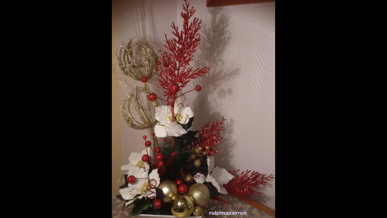 Como Hacer Un Centro De Mesa Floral Especial Navidad Flores Y - Manualidades-centros-de-navidad