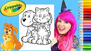 Coloring Kitty Cat & Puppy Dog Crayola Coloring Page Prismacolor Colored Pencils | KiMMi THE CLOWN