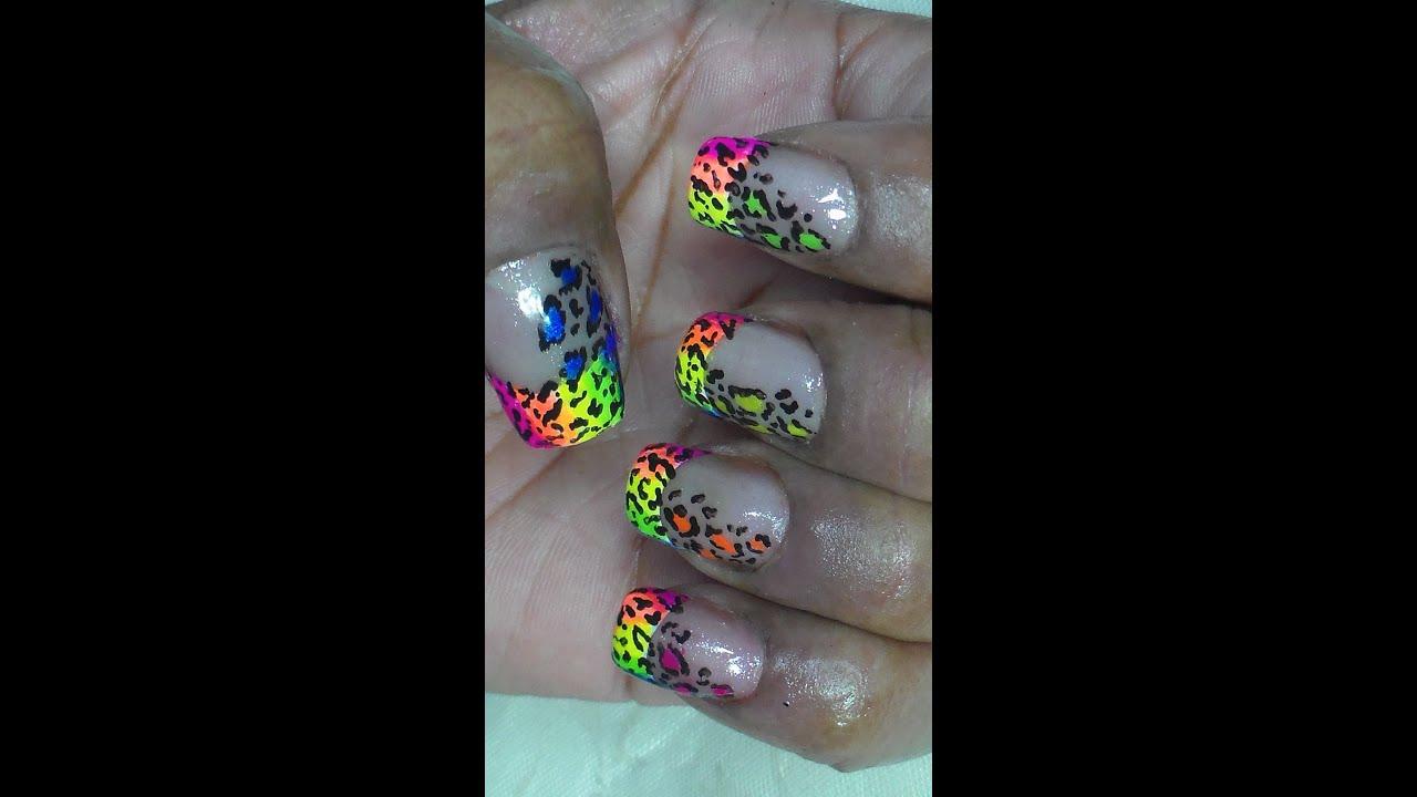 Neon Rainbow Leopard Print French Nail Art - YouTube