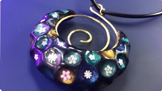 POLYMER CLAY MAGIC CHRISTMAS GIFT PENDANT WITH WIRE SPIRAL WEAVING. JEWELRY TUTORIAL