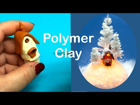 Winter Miniature Environment- polymer clay mini house- working lights- Tutorial