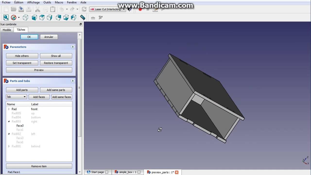 FreeCAD laser cut interlocking module