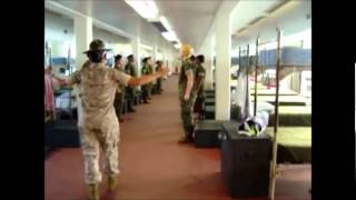 Female Marine Drill Instructor vs Cadets