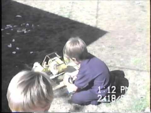1994 B Spring in Mesa AZ playing with boys Zacs cake