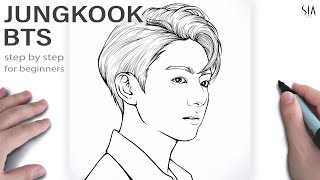 How to draw a face BTS Jungkook step by step  Tutorial