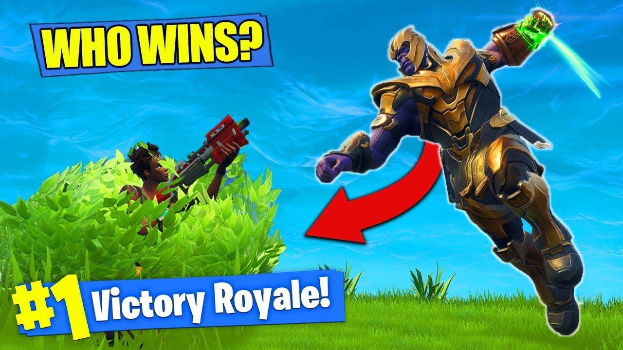 thanos vs bush noob who wins fortnite battle royale youtube