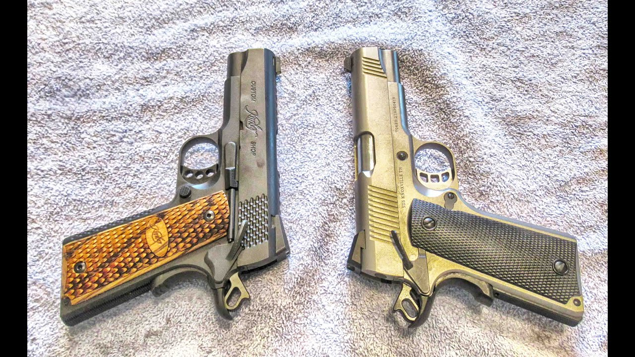 Standard 1911 Pistol with barrel bushing compared to bushingless 1911 with bull barrel