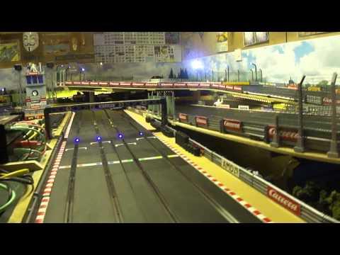 Scalextric Slot car racing, kids session, Dodge Viper, Lamborghini, Le Mans style.