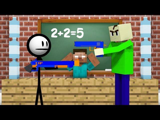 Monster School : AVM SHORTS - STICKMAN VS BALDI'S BASICS CHALLENGE - Minecraft Animation