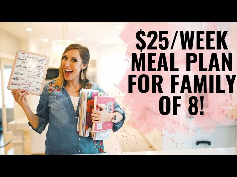 Meal planning family of 8 for only $25/week! | How to meal plan!