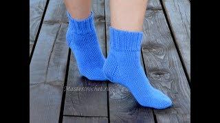 видео Как вязать носки спицами для начинающих пошагово на 5 спицах