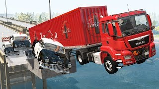Beamng drive - Police Chases vs Сrazy Truckers #3