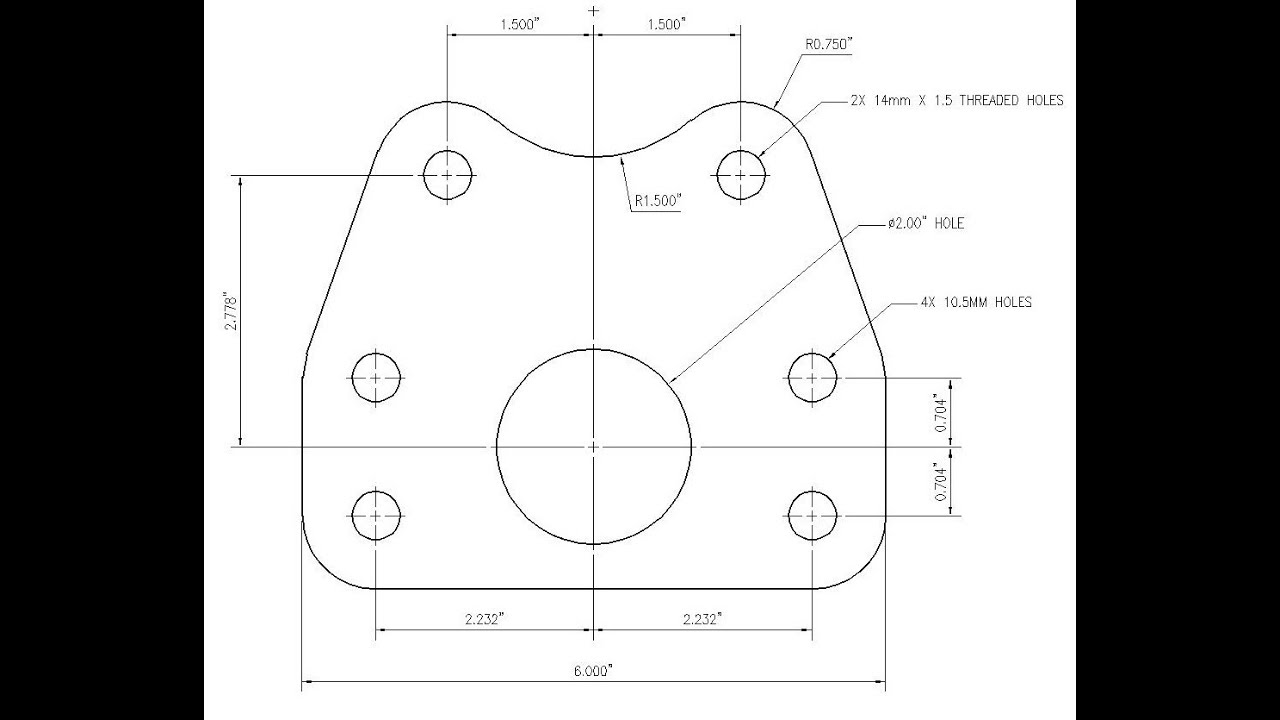 how to draw a hole in an engineering drawing
