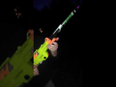 Nerf gun loaded with roman candle