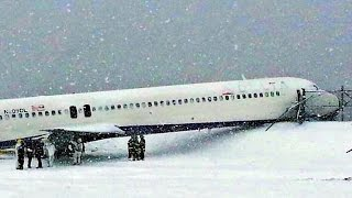 Delta jet nearly skids into icy bay by LaGuardia Airport