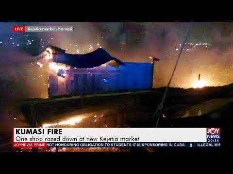 Kumasi Fire: One shop razed down at new Kejetia market - Joy News Prime (11-5-21)