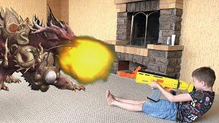 Нерф против огромного огнедышащего дракона