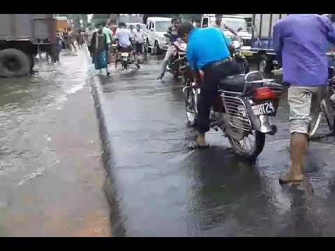 Raiganj today,Near Ambasey hotel water flow over the road towards town 14 August 2017|please subscri