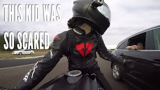 CLOSE CALL Motorcycle nearly crash into Car ALL the Cellphones SCARED EM New GoPro