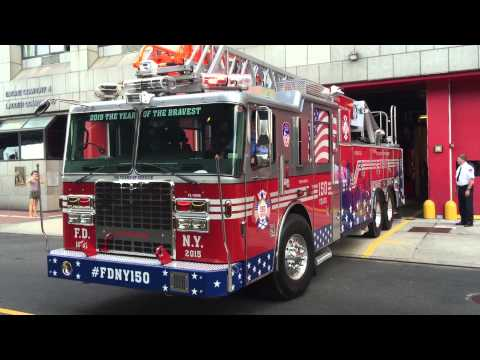 RARE CATCH OF FDNY 150TH ANNIVERSARY COMMEMORATIVE TRUCK BACKING UP FOR GAS AT FDNY ENGINE 4 HOUSE.