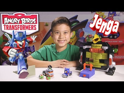 Angry Birds TRANSFORMERS Jenga OPTIMUS PRIME ATTACK Game!