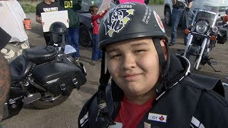 Bikers escort bullied kid to school