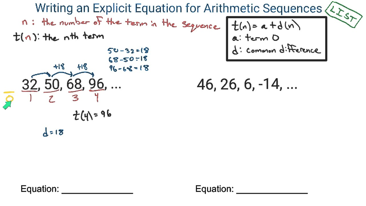 how to find the equation of a sequence
