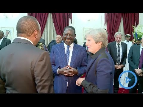 """""""This is my brother."""" - watch how Uhuru introduced Raila to British PM Theresa May"""